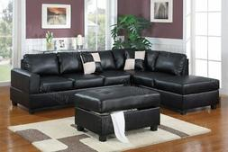 Poundex Black Bonded Leather Reversible Sectional Sofa w Ott