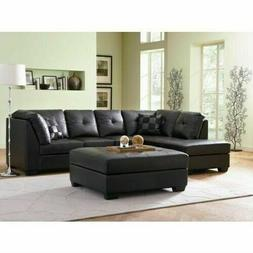 black bonded leather sectional sofa with left