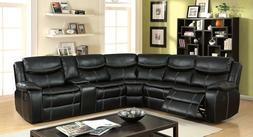 sectional sofa black leatherette wedge reclining loveseat