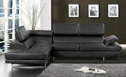 Black Color Sectional Sofa Contemporary Style Bonded Leather