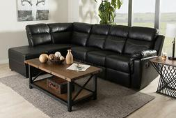 Black Faux Leather 2-Piece Sectional with Recliner and Stora