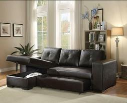 Black Faux Leather Sleeper Sectional Sofa with Storage Chais