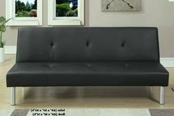 Black Futon Sofa Bed Couch Convertible Faux Leather BRAND NE