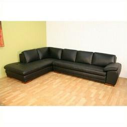 Baxton Studio Black Leather L-Shaped Right-Facing Chaise Sec