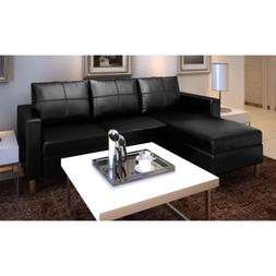 Black Leather Sectional Sofa 3 Seater L Shaped Modern Living