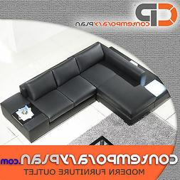 Black Leather Sofa with Light and Table L Shaped Modern Desi