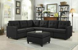 Black Modular Sectional Sofas Microsuede Linen-like with Ott