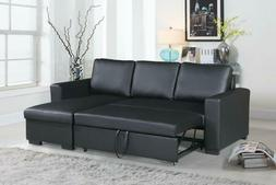 Black Sleeper Sofa Pull Out Bed Small Space Sectional Couch