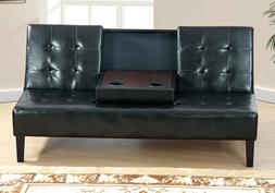 Black Tufted Faux Leatherette Adjustable Sofa Bed Futon Cent