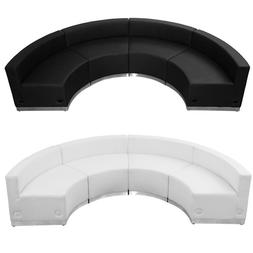 black white leather 4 pc sectional reception