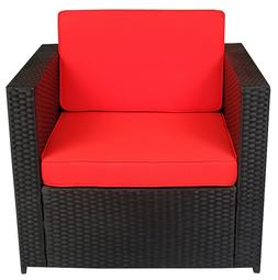 Black Wicker Patio Sectional Outdoor Sofa Chair Furniture Co