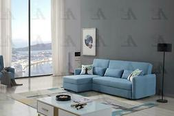Blue Velvet Sectional Sofa Bed w/Storage Right Chaise Americ