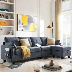 Bluish Grey Reversible Sectional Fabric L-Shape Sofa Couch f