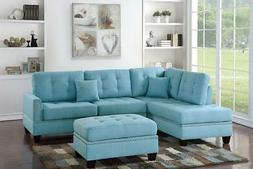 Poundex F6505 PDEX-F6505 Sofas, Light Blue