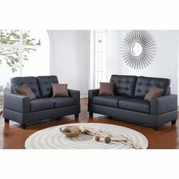 Poundex F7855 Bobkona Aria Faux Leather 2 Piece Sofa and Lov