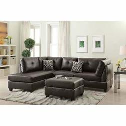 Bobkona Chaise Upholstered 3-piece Reversible Sectional Sofa
