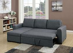 Poundex Bobkona Jassi Sectional With Pull-Out Bed And Compar