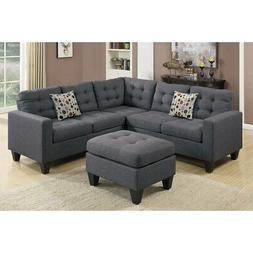 Poundex F6935 Bobkona Norton Linen-Like 4 Piece Sectional wi