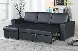 Poundex F6890 Bobkona Parker Sectional Set, Black
