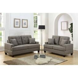 Bobkona Spencer Linen-like Polyfabric 2-Piece Sofa and