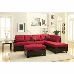 Poundex Bobkona Winden 3 Piece Reversible Sectional Sofa in