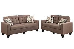 Poundex F6904 Bobkona Windsor Linen-Like 2 Piece Sofa and Lo