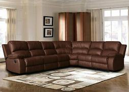 Large bonded leather sectional sofa with reclining end seats