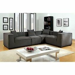 Furniture of America Boyett Sectional Sofa with Pillows, Gra