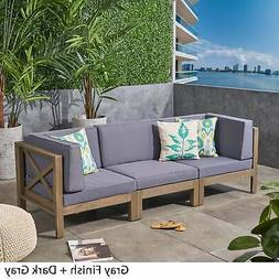 Brava Outdoor 3-Seater Sectional Acacia Wood Sofa Set With