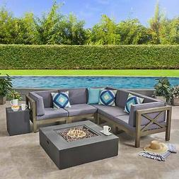 Brava Outdoor 7-Piece Acacia Wood Sectional Sofa Set with