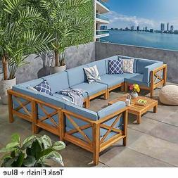 Brava Outdoor 8-Seater Acacia Wood Sectional Sofa Set by