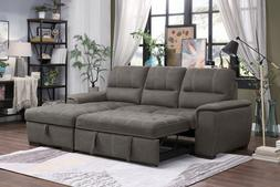 BROWN POLYESTER QUEEN SLEEPER STORAGE SOFA SECTIONAL LIVING