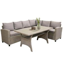 Brown Sectional Rattan Wicker Patio Sofa with Cushion & Poly