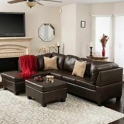 Canterbury 3-piece PU Leather Sectional Sofa Set by Christop