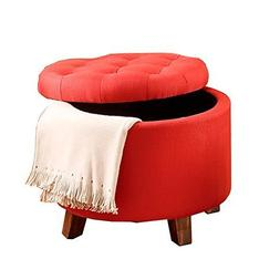 Poundex Carmine Linen Like Polyfiber Ottoman with Storage