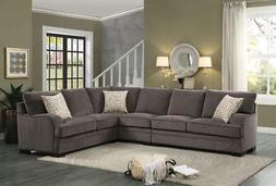 Casual Brown Chenille Sectional Sofa Couch Homelegance Alamo