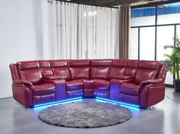 Casual Red Air Leather 3pc Power Reclining Sectional Sofa Cu