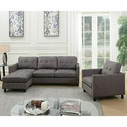 Acme Furniture Ceasar Sectional Sofa & Revisable Ottoman, Gr