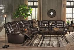 CHARLES Modern Sectional Living Room Couch Set BROWN Faux Le