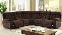 Chenille Fabric Plush Cushions Upholstery Brown Sectional So
