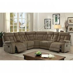 Chenille Fabric Plush Cushions Upholstery Mocha Sectional So