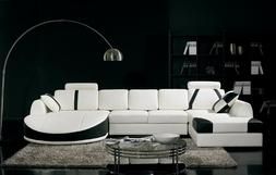 Chic Modern T57 White and Black Bonded Leather Sectional Sof