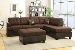 Poundex Chocolate Polyfiber Sectional Sofa with Chaise & Ott