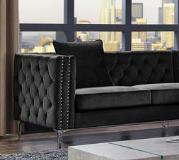 Classic Antique Black Color Fabric Tufted Couch Sectional Ch