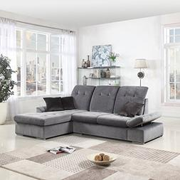 Classic Large Brush Microfiber L-Shape Sectional Sofa Couch