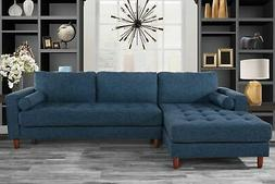 Classic Fabric Sectional Sofa, L-Shape Couch with Extra Wide