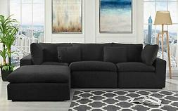 Classic Large Black Fabric Sectional Sofa, L Shape Couch wit