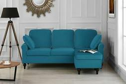 Madison Home Traditional Small Space Velvet Sectional Sofa w