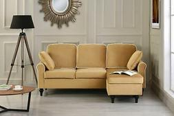 Classic and Traditional Small Space Velvet Sectional Sofa wi
