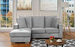 Classic Velvet Sectional Sofa, Small Space L Shape Couch wit